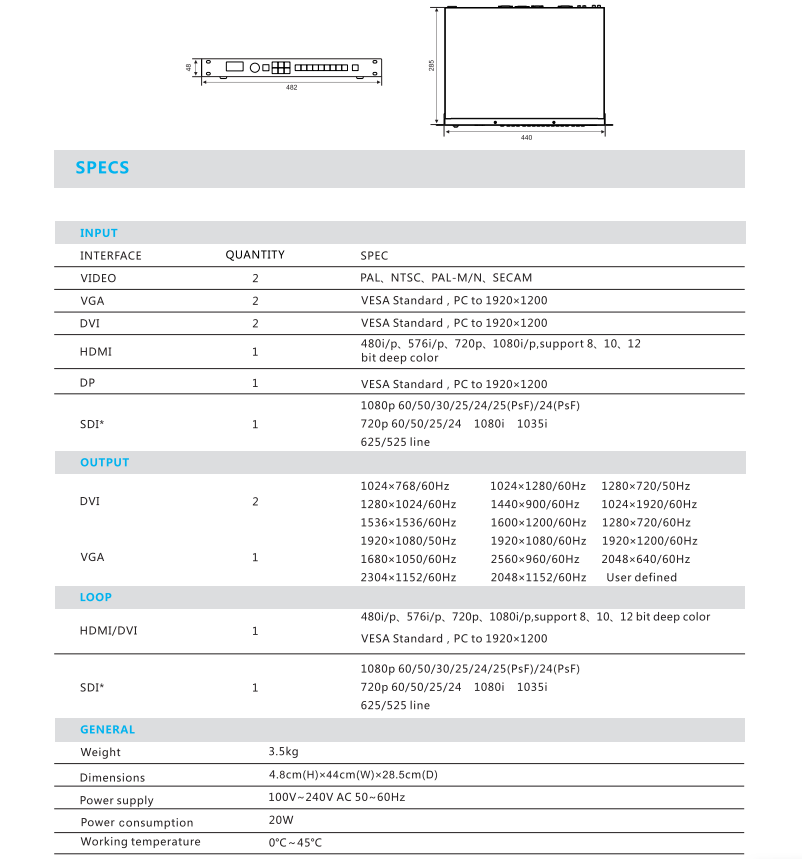 JSTRON LVP2200 LED Video Processor